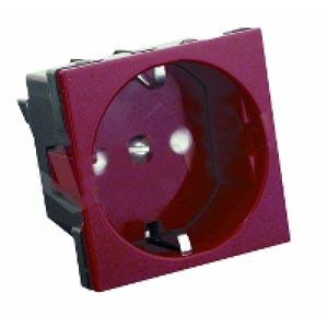 Розетка с заземляющими контактами со шторками 16А 250В  45х45  (2 модуля)  Schneider Electric  Wessen45 цвет красный    RN16-113-K