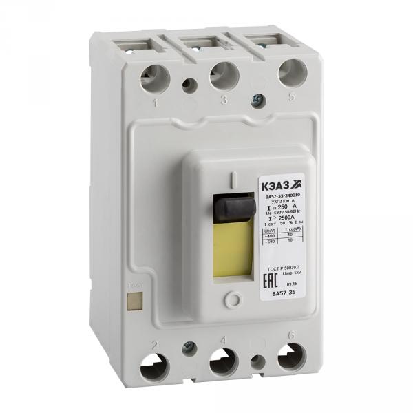 Выключатель автоматический  3П   250А  ВА 57-35 340010 250А-2500-690AC-УХЛ3-КЭАЗ (108-600)  Стандартное исполнение
